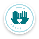 heart and hands, our values icon